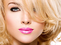 Portrait of  beautiful woman with blond  hair.  face of fashion Stock Photography