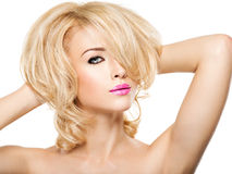 Portrait of  beautiful woman with blond  hair.  face of fashion Royalty Free Stock Image