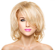 Portrait of beautiful woman with blond hair. face of fashion stock images