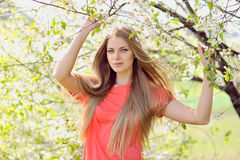 Portrait of beautiful woman in blooming tree in spring.  Stock Photo