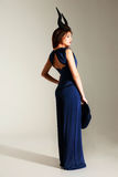 Portrait of a beautiful woman in blue dress Royalty Free Stock Photos