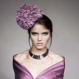 Portrait Of Beautiful Woman With Blue Flower Hydrangea Stock Photos