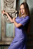 Portrait of the beautiful woman blue long gown. Stock Photography