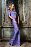 Portrait of the beautiful woman blue long gown. Stock Image