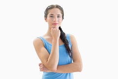 Portrait of a beautiful woman in blue tank top Stock Images