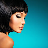Portrait of  beautiful woman with bob hairstyle Royalty Free Stock Photo