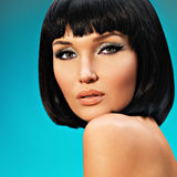 Portrait of  beautiful woman with bob hairstyle Royalty Free Stock Images