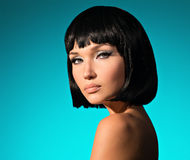 Portrait of beautiful woman with bob hairstyle stock images