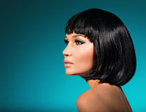 Portrait of beautiful woman with bob hairstyle. Closeup portrait of beautiful woman with bob hairstyle. Fashion model face with creative makeup royalty free stock images