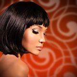 Portrait of  beautiful woman with bob hairstyle Stock Photography