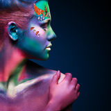 Portrait of beautiful woman with body art Stock Images