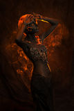 Portrait of a beautiful woman with body painting Stock Images