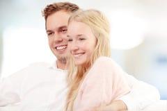 Portrait of beautiful woman  bonding a young man Stock Photo