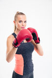 Portrait of a beautiful woman boxing Stock Photo