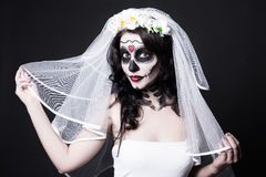 Portrait of beautiful woman bride with creative sugar skull make Royalty Free Stock Photography
