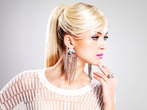Beautiful woman with fashion makeup and white hairs Royalty Free Stock Image