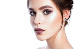 Portrait of beautiful woman with bright make-up Royalty Free Stock Photo