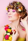 Portrait of a beautiful woman with bright makeup Stock Images