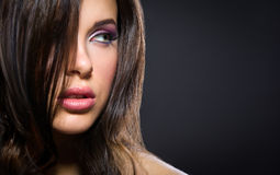 Portrait of beautiful woman with brilliant make-up Royalty Free Stock Photo