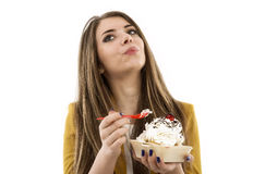 Portrait of beautiful woman with cake Stock Images