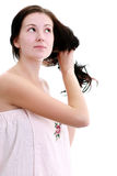Portrait of beautiful woman caring of her face Stock Photos