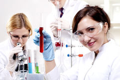Portrait of a beautiful woman chemist Stock Image