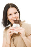 Portrait of beautiful woman with a chocolate Stock Photos