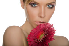 Portrait of beautiful woman with chrysanthemum Stock Photos