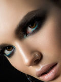 Portrait of beautiful woman. Close up portrait of beautiful woman. Perfect skin and evening makeup. Studio shot. Sensuality, passion, trendy youth makeup or royalty free stock photo