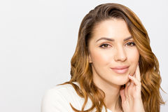 Portrait of beautiful woman, close up studio on white background. Skin care concept Royalty Free Stock Photos