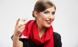 Portrait of beautiful woman with cocktail glass. Royalty Free Stock Photos