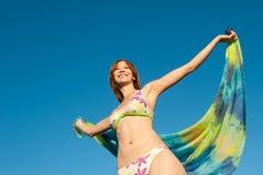 Portrait of beautiful woman in colorful bikini Stock Photos