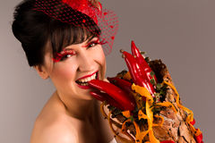 Portrait of a beautiful woman with cornucopia Stock Photography