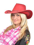 Portrait of a beautiful woman with cowboy's hat Stock Photography