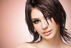 Portrait of a beautiful woman with creative hairstyle. royalty free stock photography