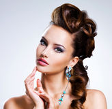 Portrait of a beautiful woman with creative hairstyle Royalty Free Stock Photography