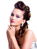 Portrait of a beautiful woman with creative hairstyle Royalty Free Stock Photo