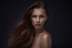 Portrait of beautiful woman with creative makeup Stock Photography