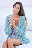 Portrait of a beautiful woman  with a cup of morning coffee Stock Images