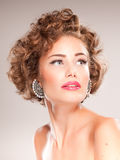 Portrait of beautiful woman with curly hair Stock Photography