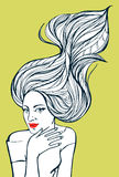 Portrait of a beautiful woman with curly hair. Monochrome abstract ornamental fashion illustration. Hand drawn doodle vector. Picture vector illustration