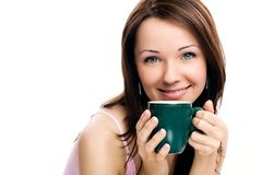 Portrait of beautiful woman drinking coffee Royalty Free Stock Photos