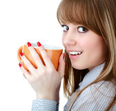 Portrait of beautiful woman drinking coffee Royalty Free Stock Image