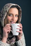 Portrait of a beautiful woman drinking coffee Royalty Free Stock Photography