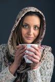 Portrait of a beautiful woman drinking coffee Stock Photo