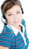 Portrait of beautiful woman with earphones Royalty Free Stock Photos
