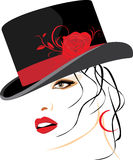 Portrait of beautiful woman in a elegant hat stock illustration
