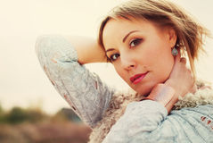 Portrait of Beautiful Woman. embraces the neck Stock Photo