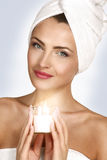 Portrait of a beautiful woman enjoying spa treatment Royalty Free Stock Photos