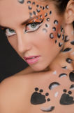 Portrait of beautiful woman with face art Royalty Free Stock Image